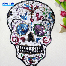 Sequins Patch Color Skull Head Hand Sewn DIY Clothing Accessories Personalized Clothing Decoration For Skirt Shirt Unisex