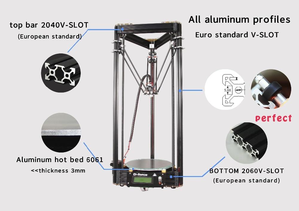 D-force mini High Performance 3Dprinter Rostock kossel deltabot delta-bot reprap Full set of aluminum hot bed