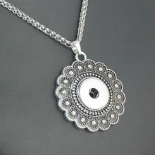 5Pcs/lot Vintage Silver Crystal Snap Button Necklace Pendant Fit 18/20mm Charm DIY Jewelry Accessories
