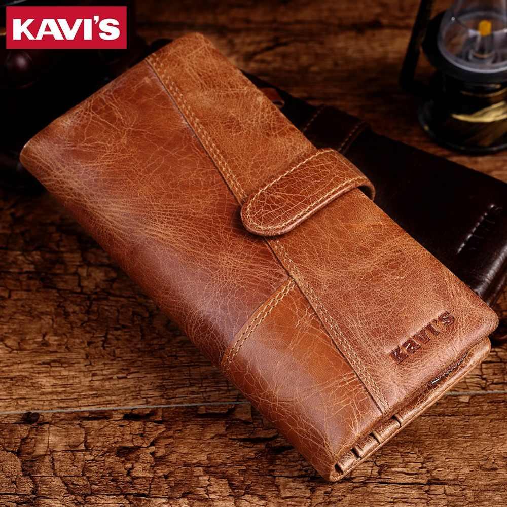 KAVIS 2018 nuevo diseñador de carteras de cuero de hombre Casual Cartera de mano de hombre cartera larga de marca Cartera de cuero genuino para los hombres