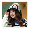 Fashion winter Warm Beanie caps for  Women with letters Knitted crochet Cap with  fur pompon