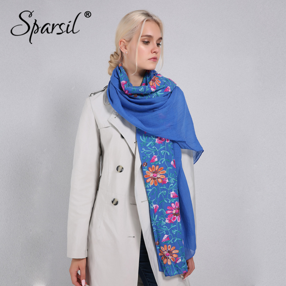 Sparsil Women Embroidery Cotton Linen Scarf Soft Thin Pashmina Summer Winter Flowers Wraps Big Size 170*90cm Scarves Shawls