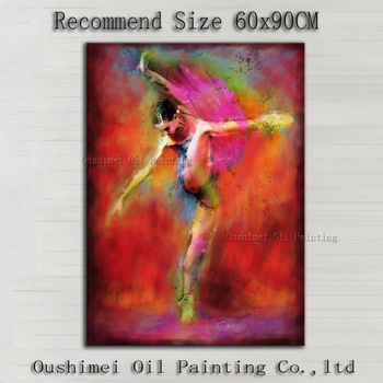High Skills Artist Handmade High Quality Modern Abstract Dancer Oil Painting On Canvas Colorful Impression Dancing Girl Painting фото