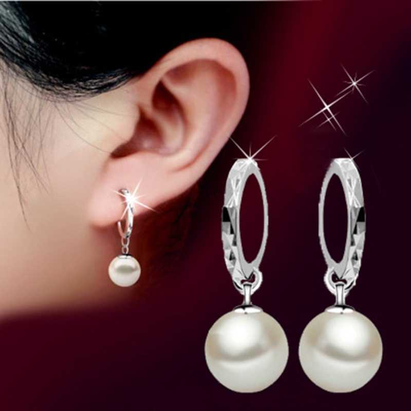 2019 Solid 925 Sterling Silver Elegant Beauty Round White Pearl Stud Earrings Women Engagement Jewelry Brincos Mother's Day Gift