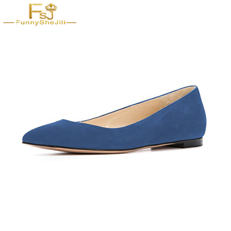 Retro Blue Women Shoes Casual Slip On Ballet Faux Suede Flats Low Heels Pointed Toe Dress Evening Party Shoes Large Size 4-16 sweet women high quality bowtie pointed toe flock flat shoes women casual summer ladies slip on casual zapatos mujer bt123