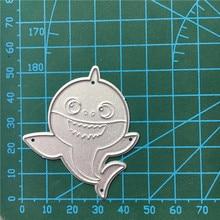1PCS Cute shark cutting die+1PCS carft Tag Stencil For DIY Scrapbook Paper Card Decorative Craft Embossing Die Cut