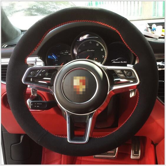 Black Genuine Leather Hand Sched Car Steering Wheel Cover For Porsche Cayenne Custom Special Automobile Handle Sleeve