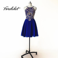 Forelsket Halter Short Prom Dresses 2017 Royal Blue Homecoming Dresses Formal Party Dresses Dresses Chiffon Cheap