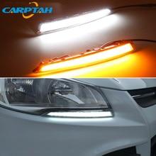 LED Daytime Running Light For Ford Escape Kuga 2013   2015 Waterproof 12V Yellow Turn Signal Indicator Light Bumper Lamp LED DRL