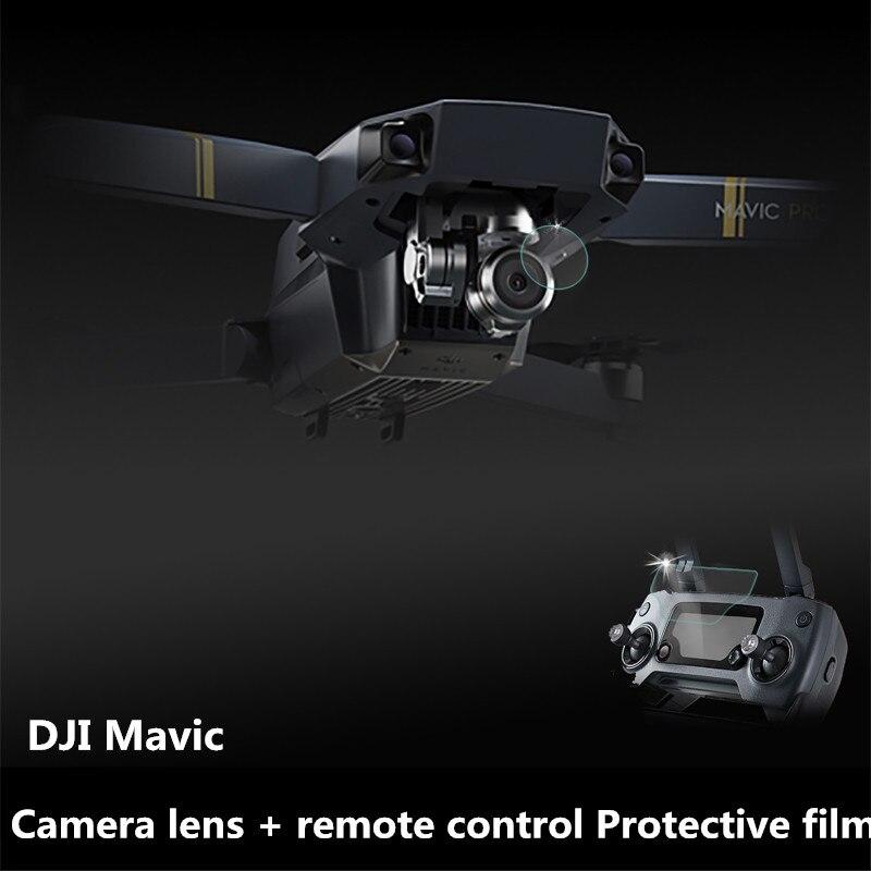 New 1set Mavic Pro Camera lens + remote control HD Protective film Transparent UV tempered glass Protector for DJI Mavic Drone