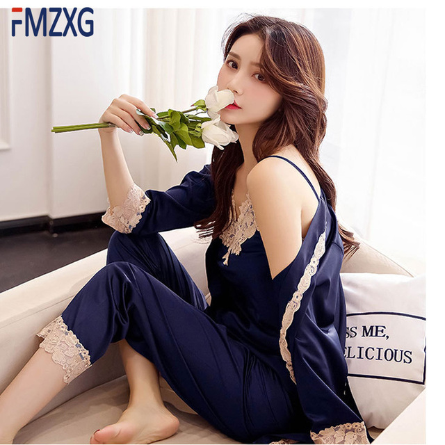6110781a30 Ladies Sexy Silk Satin Pajama Set Lace Pyjama Set Sleeveless Pijama 3 Set  V-neck Sleepwear Summer Home Wear Sleep Wear For Women