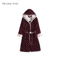 REJINAPYO Women Bath Robe Female Polka Dot Flannel Knee length Robes Long Coat Winter Autumn Indoor Clothing New Arrival