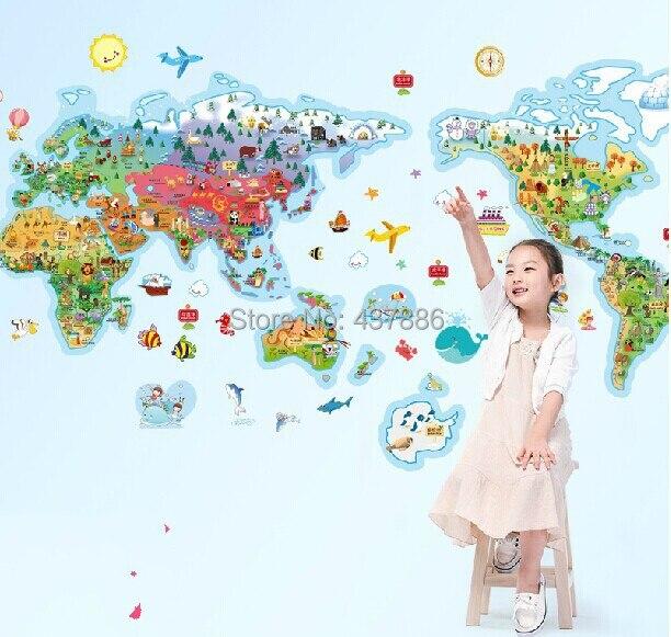 Рис мультфильм карта мира мира большие дети настоящее мультфильм украшение стены наклейки обои карта мира для детей стены номера