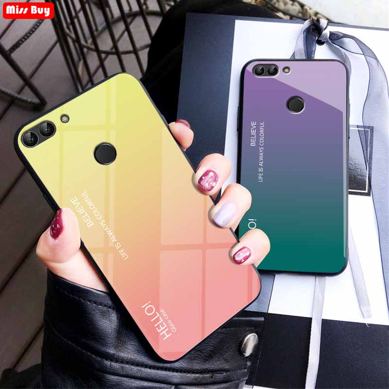 Missbuy Luxury Gradient Tempered Glass Phone Cases For Huawei <font><b>P</b></font> <font><b>Smart</b></font> Case 5.65 Slim Back Cover Fundas For Huawei PSmart Coque image