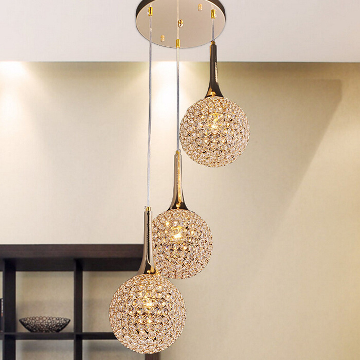 Modern Round Ball Iron Chandelier Diameter E27 Led Lamps Simple Crystal Chandeliers Led Lustre Chandelier Lighting Ceiling Lights & Fans
