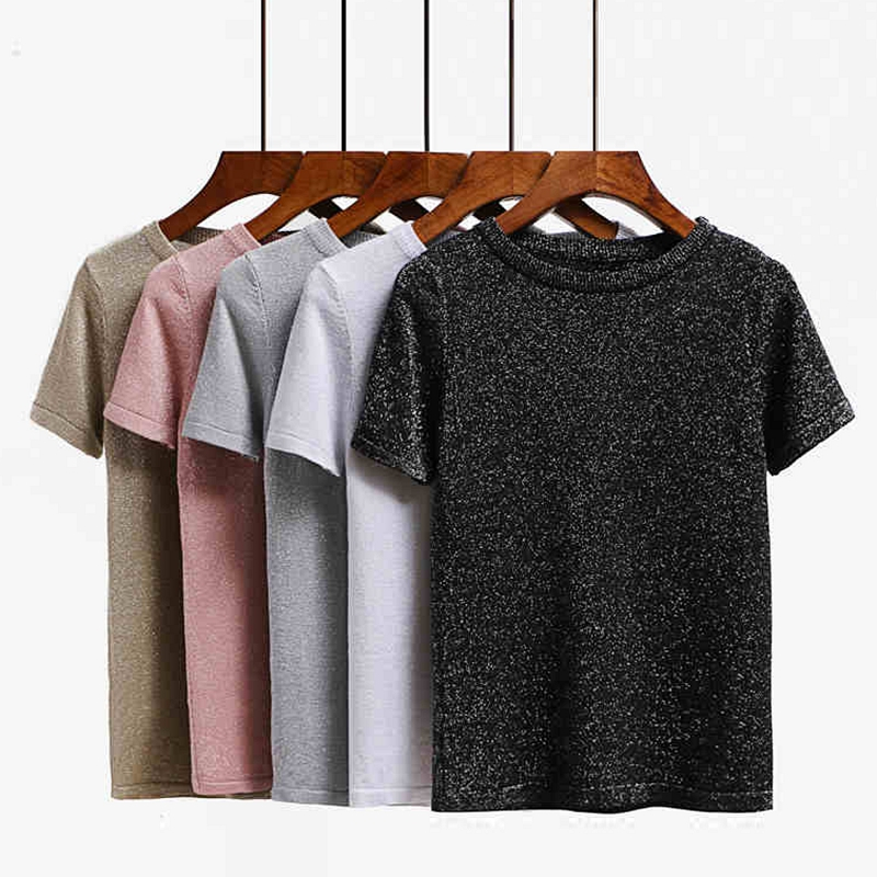 ONLYSVTER Knitted Summer T Shirt Women Casual Short Sleeves T-Shirt Breathable Elasticity Kintwear Top O-Neck Female Tshirt