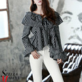 New Spring Women Short Striped Tee Tops Full Flare Sleeves Ruffled Wide Collar Sexy Cute Fashion T-shirts Elegant Style 2225