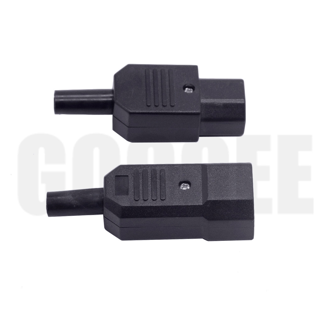 IEC320 C14 UPS Plug Male Female Power Plug Connector Power Cord Inlet Outlet AC 250V 10A Nylon Insulation Brass Conductor