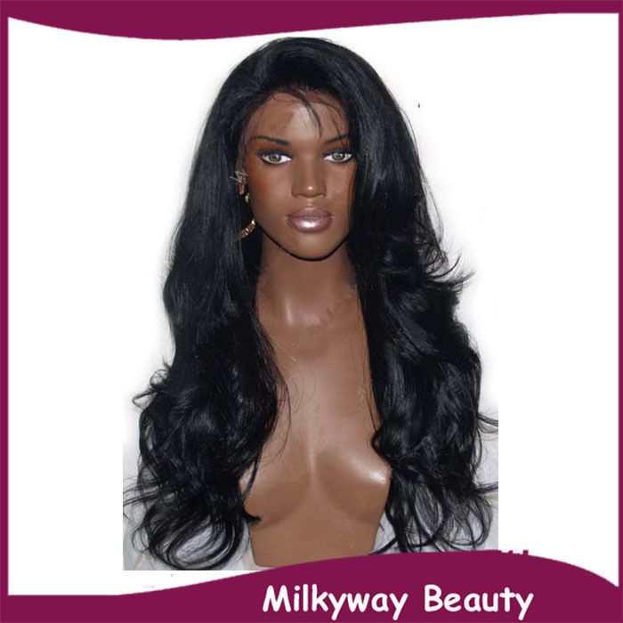 Free shipping synthetic lace front wig natural wavy heat resistant off black front lace wig for