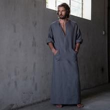 2017 Весна и лето Для мужчин полной длины ультра длинные Природа белье хлопок для дома носить дома одеждах Loungewear пижамы Халаты