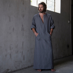 2017 spring and summer men full length ultra long nature linen cotton lounge wear home robed.jpg 250x250