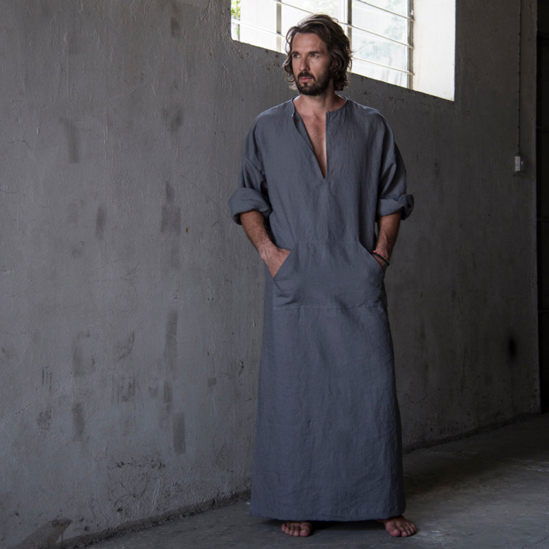Mens Cotton Linen Ultra Ankle Length Long Robes Bathrobes Lounge Wear Home Gowns Sleepwear Nightgowns Shirt