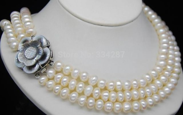 """100% Selling Picture full Third Strand 8-9MM AAA+ Oblate Pearl Necklace(18"""" 19"""" 20"""") flower clasp"""