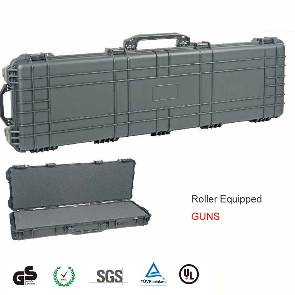 included full pick pluck foam long size IP67 quality hard plastic gun case with wheels