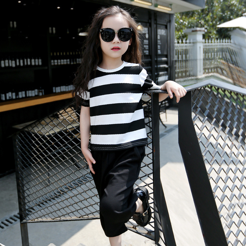 New Summer Teenager Girls Clothing Sets Cotton Striped T Shirt
