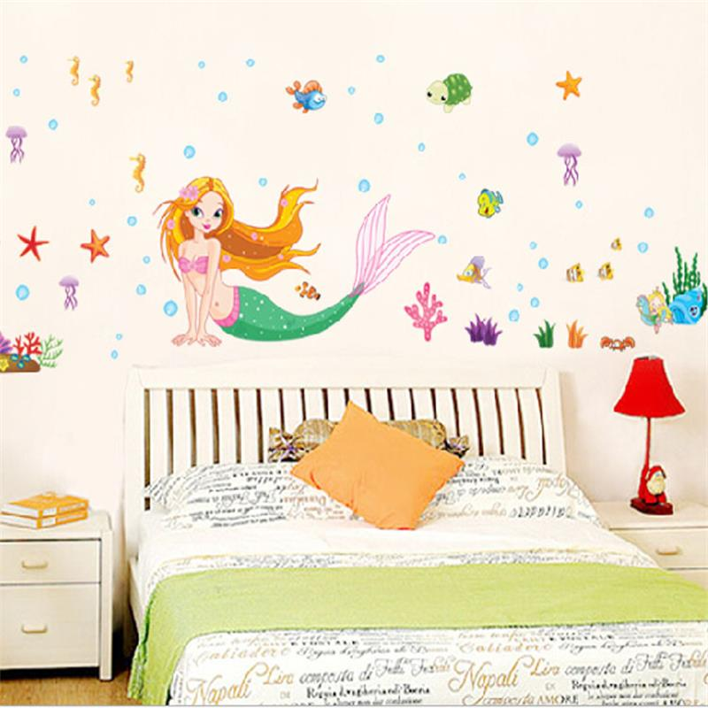 The Little Mermaid Wall Stickers For Kids Rooms Home Decoration DIY 3D Window Decor