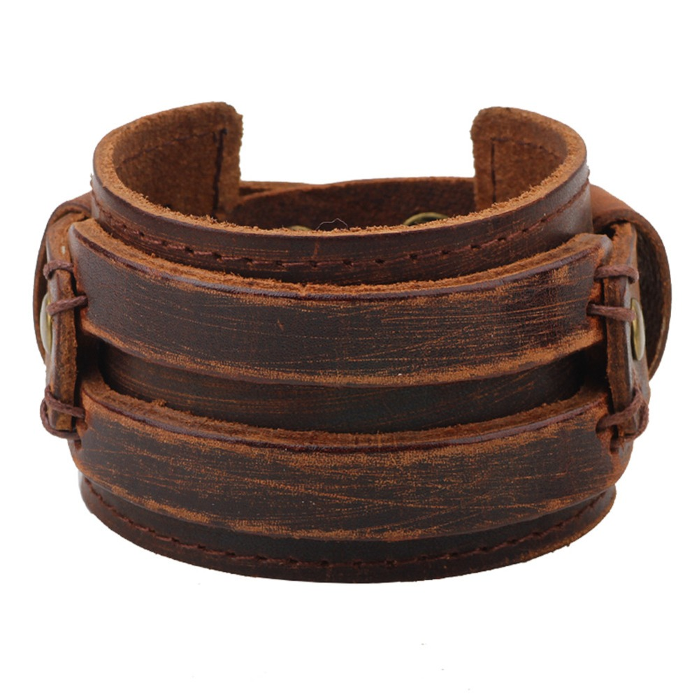 Seven Chakra Fashion Popular Vintage Big Wide Thick Leather Black Coffee  Wristband Cuff Cool Jewelary For