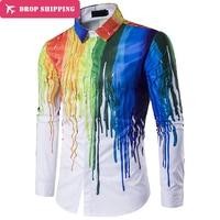 Spring New Style Men Big Yards Clothing Young Man Personality Printing Shirt Men Casual Lapels Long