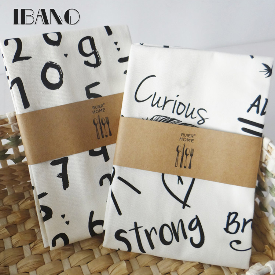 2pcs/lot 45x60cm 100% Cotton Classic Alphabet print Dishtowel Kitchen Towel Cleaning Cloth Tea Towel Ultra durable pano de prato