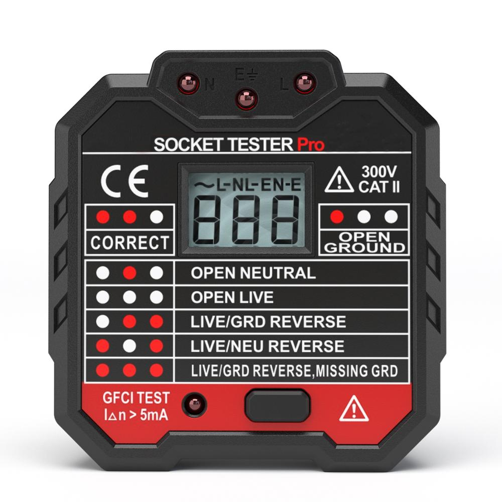 EU Plug Socket Tester LCD Display Voltage Tester Socket Detector Ground Zero Line Plug Polarity Phase Check RCD Tester