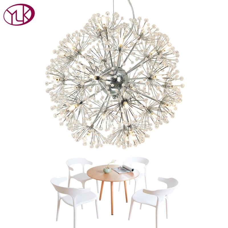 Youlaike Modern Crystal Chandelier Dandelion Design Home Light Fixtures Hanging Chandeliers Lighting