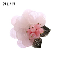 Pulatu Natural Stone Brooches Pink Green Flower Fashion Brooch Pins Vintage Silver Leaves Natural Coral Inlay Women Brooch Party