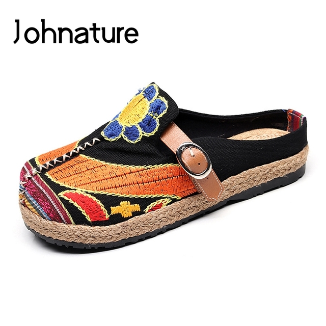 Johnature 2020 新手作り春/秋ラウンド花キャンバスカジュアル刺繍リネン綿の靴の女性フラットプラットフォーム