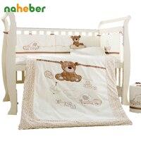 Cotton Baby Cot Bedding Set Newborn Cartoon Bear Crib Bedding Detachable Quilt Pillow Bumpers Sheet Cot Bed Linen 4 Size