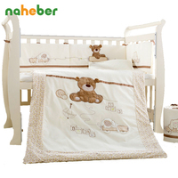 Cotton Baby Cot Bedding Set Newborn Cartoon Bear Crib Bedding Detachable Quilt Pillow Bumpers Sheet Cot Bed Linen 4 Size