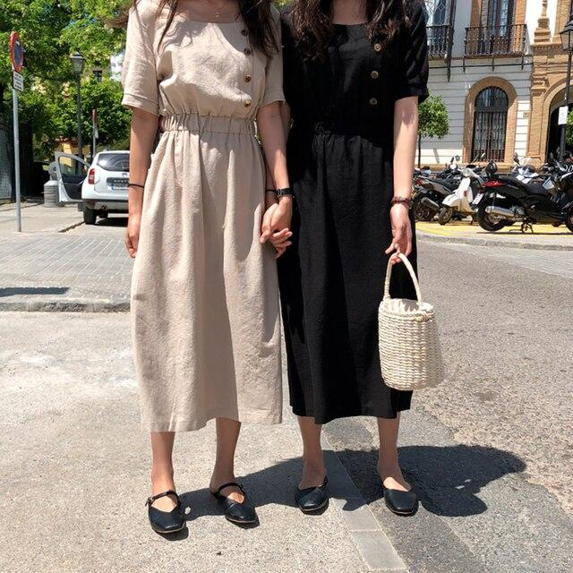 Для женщин летние хлопковые льняные элегантный эластичный пояс длинное платье с пуговицы женский vestido открытое легкое платье femme ete сарафан jurken