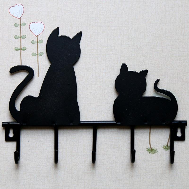 CSS Black cat design Metal Iron Wall Door Mounted Rustic Clothes Coat hat key hanging Decorative Wall Hooks Robe Hanger