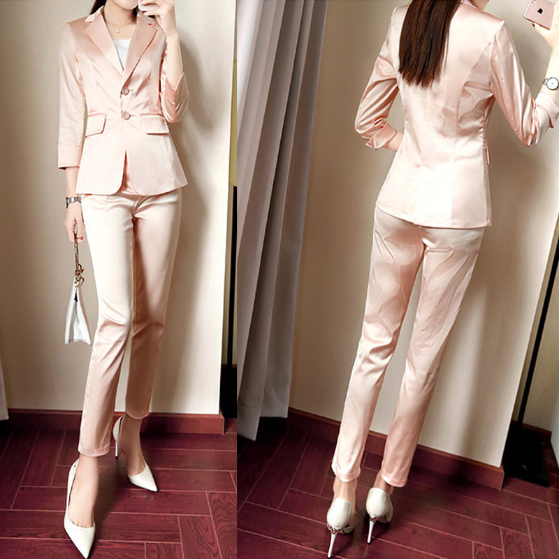 Spring Autumn Pink 2 Piece Sets Women Single Breasted Office Blazer+Pants Pockets Half Sleeve Women's Pant Suits Plus Size3XL
