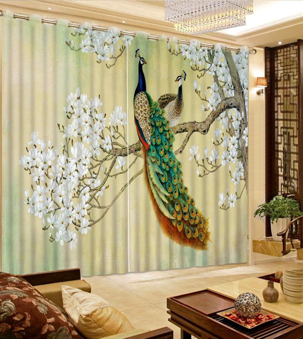 Top Classic 3D European Style High Quality Costom Curtains for living room peacock white flower curtains for living room Top Classic 3D European Style High Quality Costom Curtains for living room peacock white flower curtains for living room