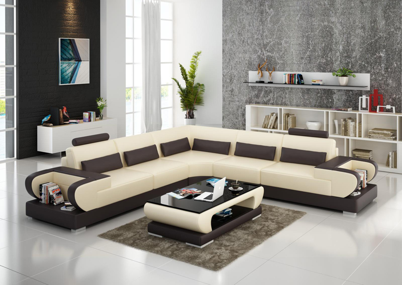 0413 G8003b Contemporary Latest Genuine Leather Sectional Sofa