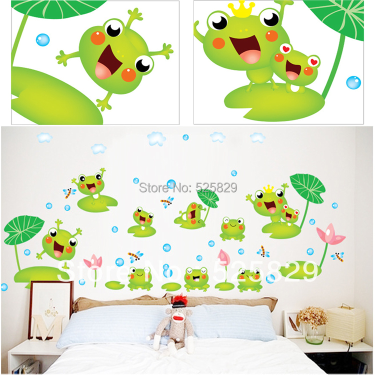 Cute Green Frogs Wall Stickers For Bedroom/Bathroom Wall Decor Children Room
