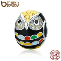 BAMOER Genuine 925 Sterling Silver Gold Enamel Animal Owl Charm Beads Fit Women Charm Bracelet Bangles