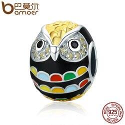 BAMOER Genuine 925 Sterling Silver & Gold Enamel Animal Owl Charm Beads fit Women Charm Bracelet & Bangles Jewelry Gift SCC468