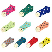 2018 Girl's Funny Kawaii Boat Socks Invisible Cotton Socks Ankle Low-cut Female Socks Non-Slip Stealth Women Foot Wear(China)