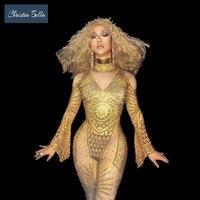 Пикантные египетская богиня золото горный хрусталь комбинезон Вечерние боди с блёстками ночной клуб певица одежда для выступлений полюс т