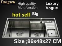 Free shipping Home vogue multifunction big kitchen manual sink double groove high capacity 304 stainless steel 960x480 CM